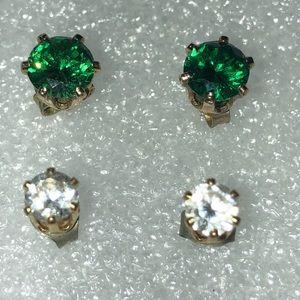 Vintage rhinestone set of 3 earrings